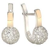 Серебряные серьги с золотыми вставками и цирконием Любава