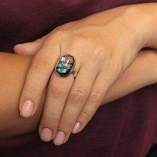 Серебряное кольцо Тристесса с имитацией опала