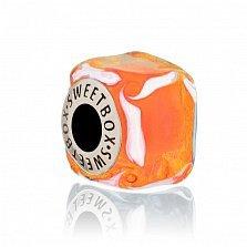 Серебряный шарм Облепиховый куб с муранским стеклом