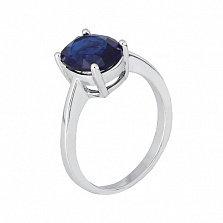 Серебряное кольцо Эдвена с фианитом цвета сапфира