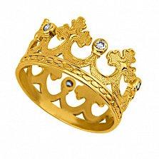 Обручальное кольцо-корона Царица грез из лимонного золота с фианитами