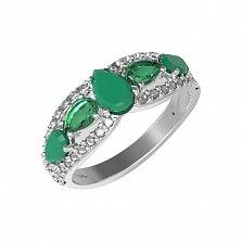 Серебряное кольцо Синтия с зеленым агатом, зеленым кварцем и фианитами