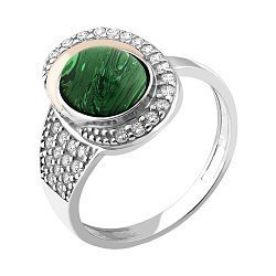 Серебряное родированное кольцо с золотой накладкой, имитацией малахита и фианитами 000118670