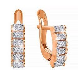 Серебряные серьги с позолотой и фианитами 000024565