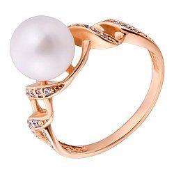 Золотое кольцо Морские узоры с белой жемчужиной и фианитами