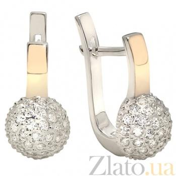 Серебряные серьги с золотыми вставками и цирконием Любава BGS--693с