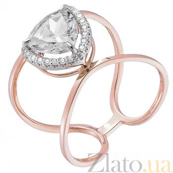 Кольцо из красного золота с цирконием Вилена HUF--700096