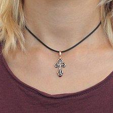 Золотой крестик Воскресение с чернением