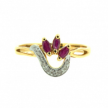 Кольцо из жёлтого золота с рубинами и бриллиантами Алиша
