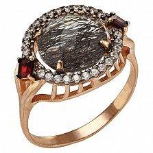 Кольцо в красном золоте Нателла с кварцем, гранатом и фианитами