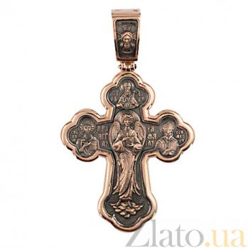 Золотой крестик с черным родированием Господь Исцеляющий VLT--КС3001-3