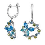 Золотые серьги с голубыми топазами, хризолитами и бриллиантами Жасмин