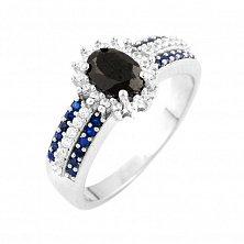 Серебряное кольцо Пандора с синим сапфиром и фианитами