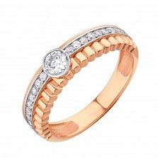 Золотое кольцо Минерва с фианитами