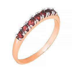 Позолоченное серебряное кольцо с красным цирконием  000028419