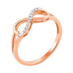 Золотое кольцо Бесконечная линия в комбинированном цвете с фианитами