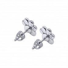 Серебряные серьги-пуссеты Лапка с сердцем с розовой эмалью,8х8 мм