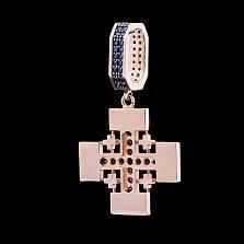 Золотой крестик Анкор с синими фианитами