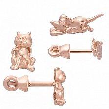 Детские сережки из красного золота Кот и мышка