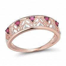 Золотое кольцо Мирена с узорной шинкой, бриллиантами и рубинами