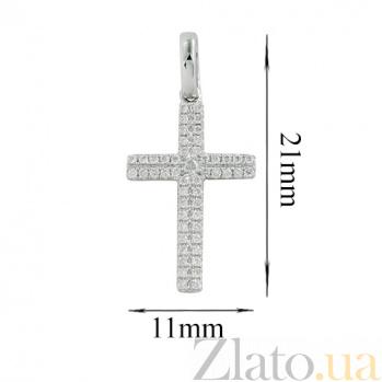 Крест в белом золоте с бриллиантами Воодушевление 000026741