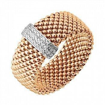 Золотое кольцо Исидора в комбинированном цвете с фианитами 000129914