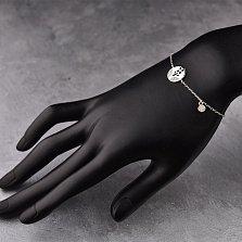 Серебряный браслет Цветочный стиль с подвесками и фианитами