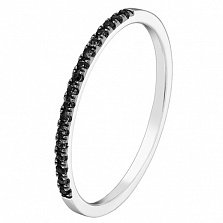 Золотое кольцо Сия в белом цвете с чёрными бриллиантами