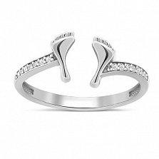 Серебряное кольцо Ножки с цирконием