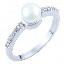 Серебряное кольцо Фиделма с жемчугом и фианитами