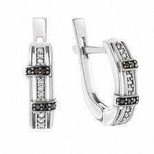 Серебряные серьги Асимметричное единство с фианитами