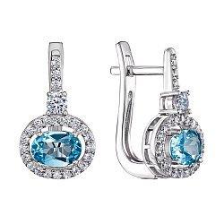 Серебряные серьги с голубым топазом и фианитами 000125558