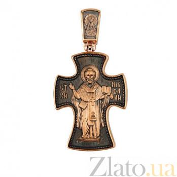 Золотой крестик с черным родием Благочестие VLT--КС3025-3