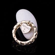 Кольцо из желтого золота Романтический подарок с фианитами в стиле Картье