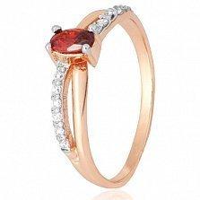 Позолоченное серебряное кольцо Лалит с красным и белыми фианитами