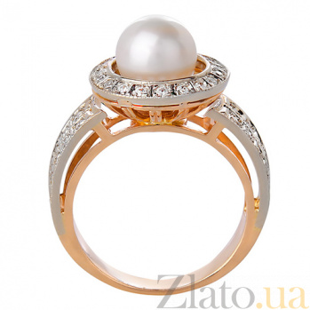 Золотое кольцо с жемчугом и фианитами Миранда 3532153