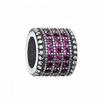 Срібний шарм Циліндр з рожевими фіанітами 000126915
