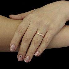 Позолоченное серебряное кольцо Гарселла с перекрестной насечкой
