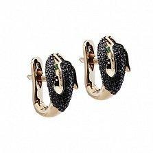 Серьги с черными бриллиантами Пантера