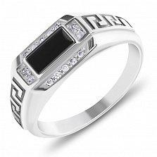 Серебряный перстень-печатка Элтон с черной эмалью и фианитами