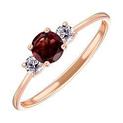Кольцо из красного золота с гранатом и фианитами 000123314