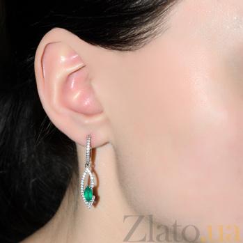 Серебряные серьги Консуэлла с зелёным агатом 000013475