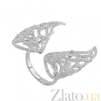 Кольцо Ангельские крылья в белом золоте с цирконием VLT--ТТ1330