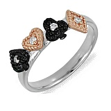 Кольцо Игра из комбинированного золота с бриллиантами