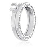 Серебряное кольцо с цирконием Взаимная любовь