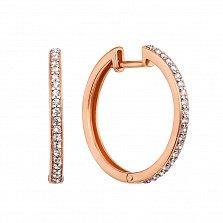 Золотые серьги-кольца Летний вечер в комбинированном цвете с кристаллами циркония