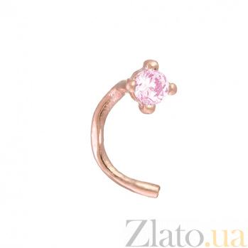 Золотой пирсинг в нос с розовым фианитом Зара 1018.7