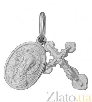 Крестик с ладанкой из серебра Небесный целитель 000025346