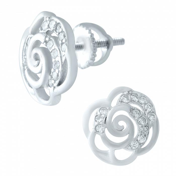Серебряные серьги-пуссеты Розочки с фианитами 000078037