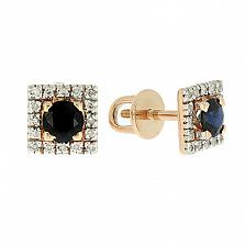 Золотые серьги с бриллиантами и сапфирами Шанталь